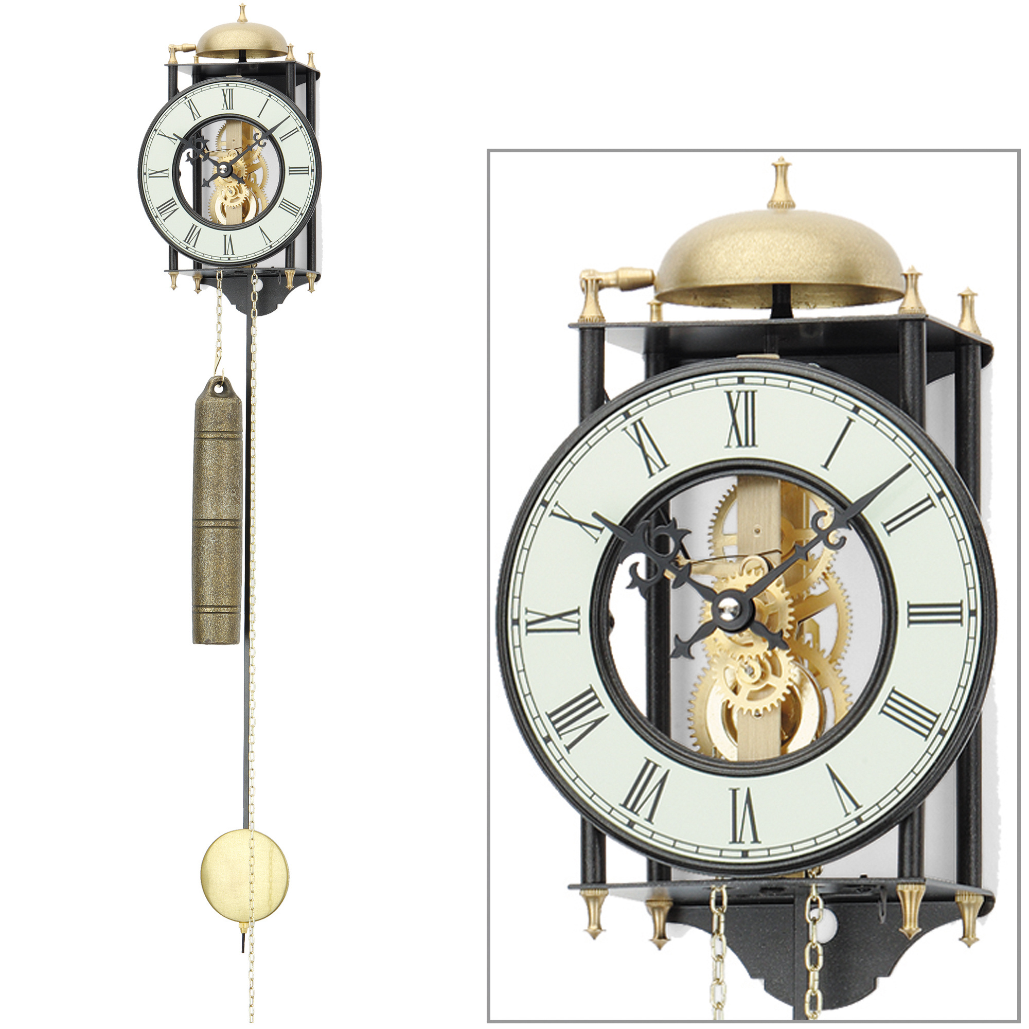 ams 302 wanduhr mit pendel mechanisch golden schwarz metall pendeluhr skelettuhr ebay. Black Bedroom Furniture Sets. Home Design Ideas